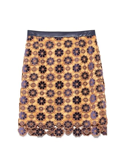 お花柄ベロアレーススカート