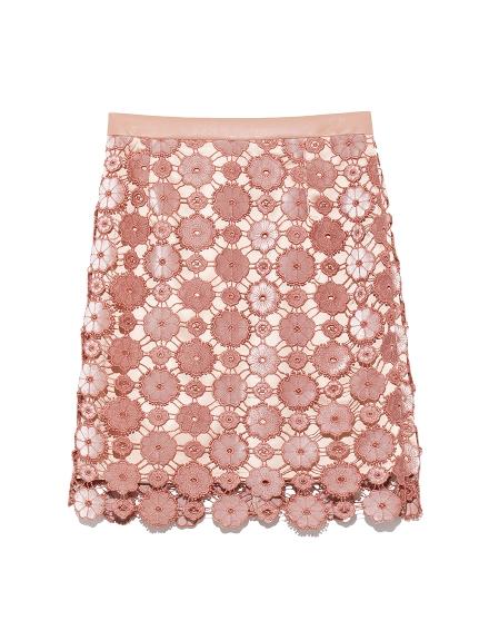 お花柄ベロアレーススカート(PNK-0)