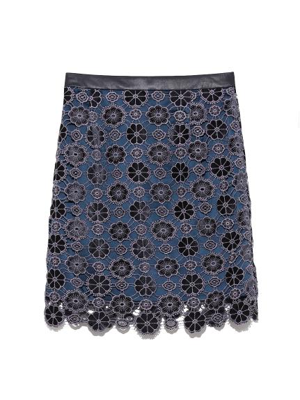 お花柄ベロアレーススカート(NVY-0)