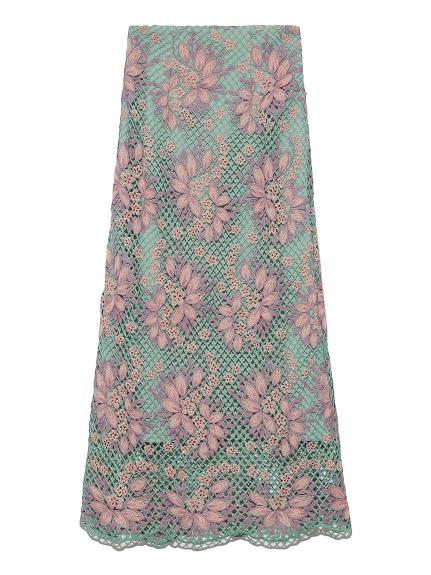 お花レースロングスカート