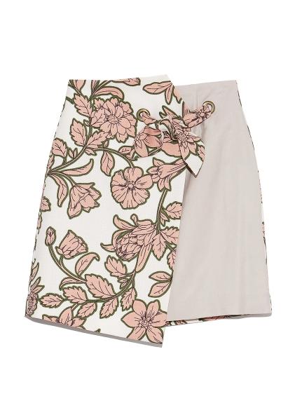 フラワー異素材切替えスカート(OWHT-0)