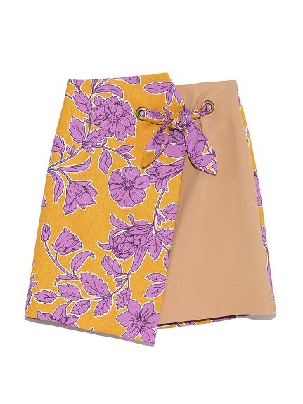 フラワー異素材切替えスカート(YEL-0)