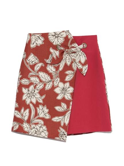 フラワー異素材切替えスカート(RED-0)