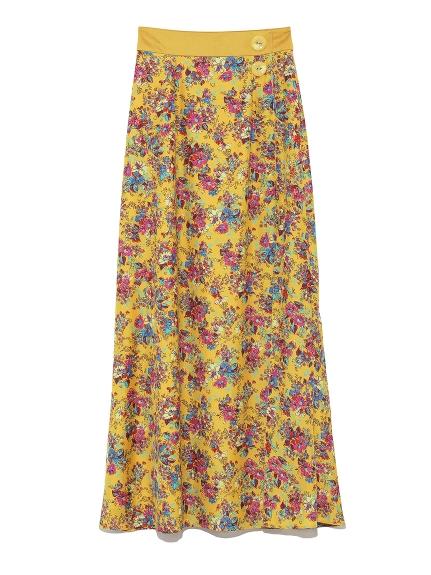 深スリットフラワータイトスカート