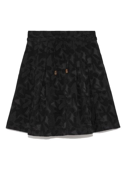 ジャガードフレアミニスカート(BLK-0)