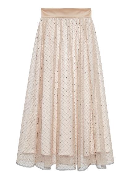 ビーズ刺繍ロングスカート(OWHT-F)