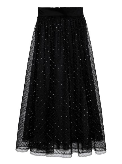 ビーズ刺繍ロングスカート(BLK-F)