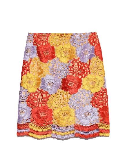 フラワーレース台形スカート(YEL-0)
