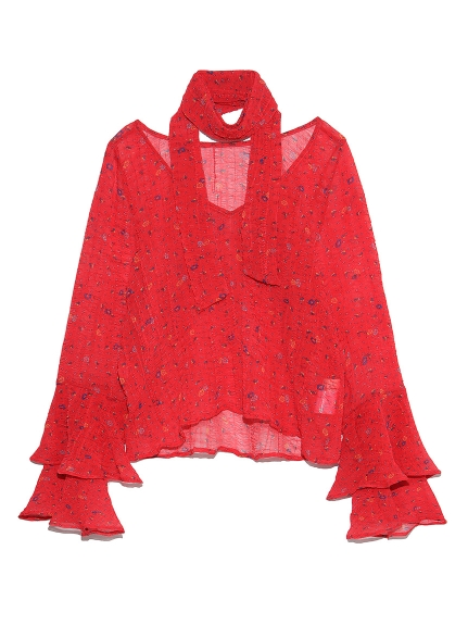 小花柄タイ付きブラウス(RED-F)